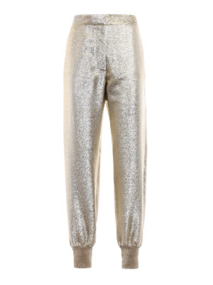 Stella Mccartney: casual trousers - Gold-tone georgette lurex trousers