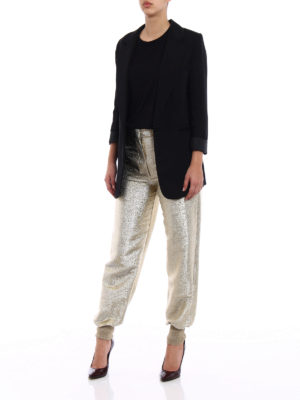 Stella Mccartney: casual trousers online - Gold-tone georgette lurex trousers