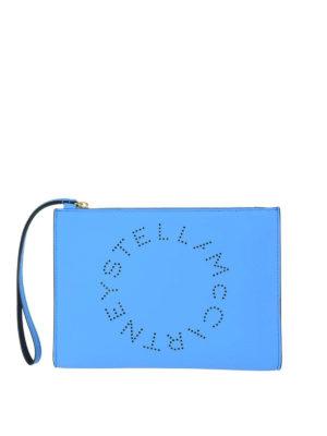 STELLA McCARTNEY: pochette - Clutch Stella Logo azzurro fluo