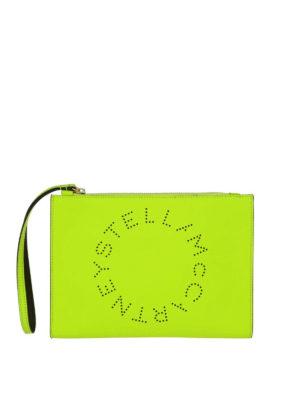 STELLA McCARTNEY: pochette - Clutch Stella Logo giallo fluo