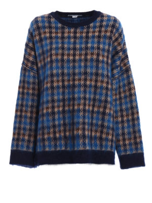 Stella Mccartney: crew necks - Check wool and mohair maxi sweater