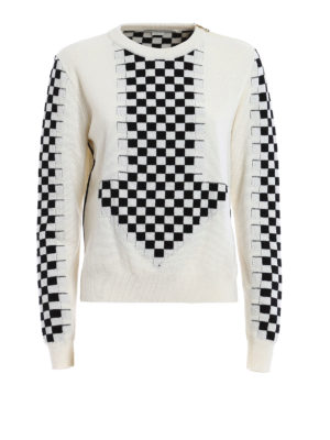 Stella Mccartney: crew necks - Chessboard intarsia wool sweater