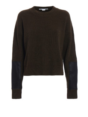 Stella Mccartney: crew necks - Faux leather panelled over sweater
