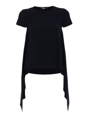 Stella Mccartney: crew necks - Ink Compact knitted viscose top