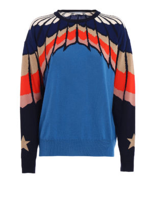 Stella Mccartney: crew necks - Intarsia wool over sweater