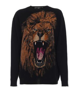 STELLA McCARTNEY: maglia collo rotondo - Pullover in lana con intarsio leone
