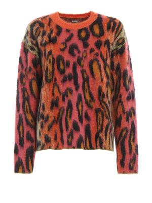 STELLA McCARTNEY: maglia collo rotondo - Girocollo lana e mohair stampa Neon Leopard