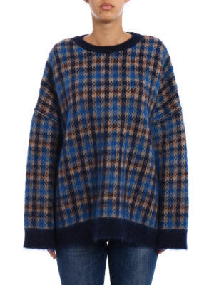 Stella Mccartney: crew necks online - Check wool and mohair maxi sweater