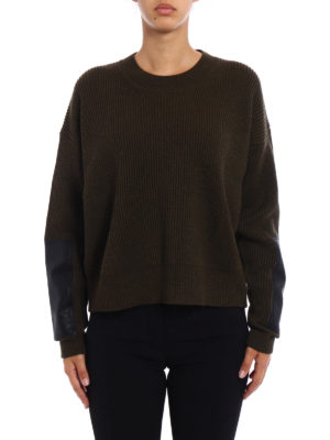 Stella Mccartney: crew necks online - Faux leather panelled over sweater