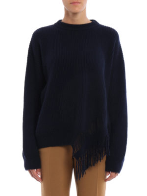 Stella Mccartney: crew necks online - Fringed cashmere sweater