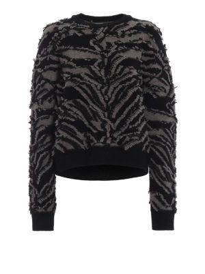 STELLA McCARTNEY: maglia collo rotondo - Pull in lana con frangette effetto zebrato