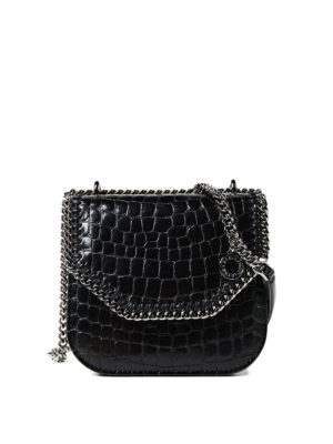 Stella Mccartney: cross body bags - Croco Falabella Box mini bag