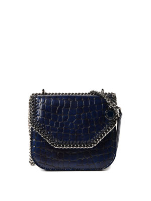 Stella Mccartney: cross body bags - Croco Falabella Box mini blue bag
