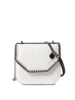 Stella Mccartney: cross body bags - Croco Falabella Box mini ivory bag