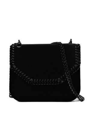 Stella Mccartney: cross body bags - Falabella black mini cross body bag