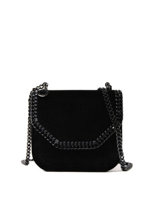 Stella Mccartney: cross body bags - Falabella Box black velvet mini bag