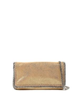 STELLA McCARTNEY: borse a tracolla - Tracollina fold-over Falabella ecopelle oro