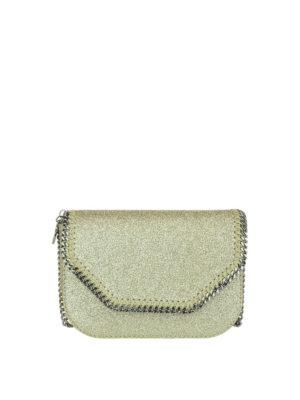 STELLA McCARTNEY: borse a tracolla - Borsetta Falabella in glitter oro
