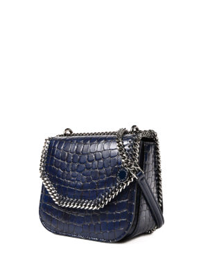Stella Mccartney: cross body bags online - Croco Falabella Box mini blue bag