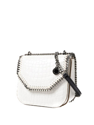 Stella Mccartney: cross body bags online - Croco Falabella Box mini ivory bag
