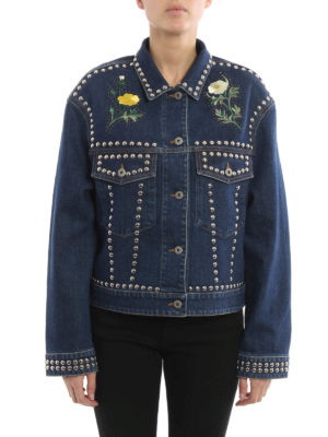Stella Mccartney: denim jacket online - Embroidered and studded jacket