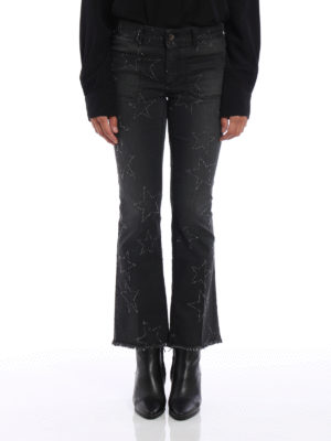 Stella Mccartney: flared jeans online - Star patterned crop jeans