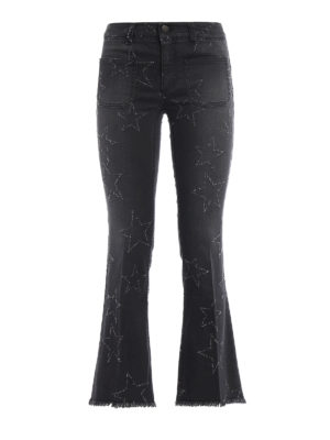 Stella Mccartney: flared jeans - Star patterned crop jeans