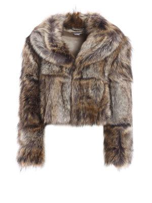 Stella Mccartney: Fur & Shearling Coats - Animal print eco fur crop jacket