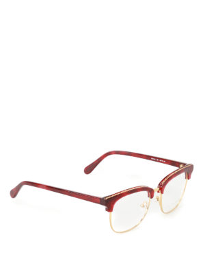 Stella Mccartney: glasses - Chain detailed dark red eye glasses