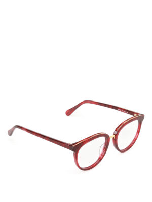 Stella Mccartney: glasses - Chain detailed dark red glasses