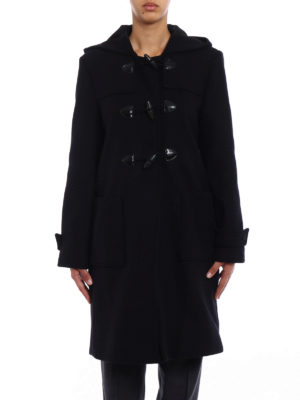 Stella Mccartney: knee length coats online - Black wool blend duffle coat