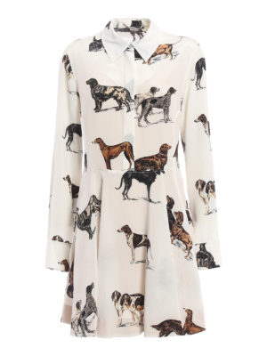 Stella Mccartney: knee length dresses - Greta dog printed silk dress