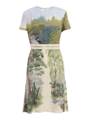 Stella Mccartney: knee length dresses - Landscape print viscose dress