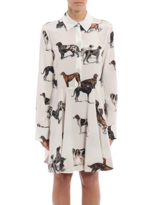 Stella Mccartney: knee length dresses online - Greta dog printed silk dress