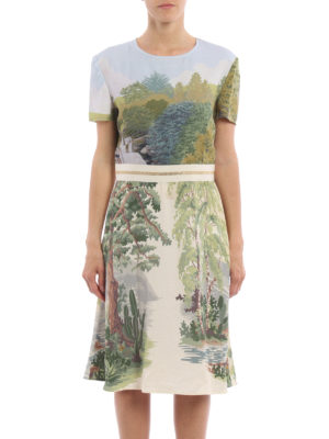 Stella Mccartney: knee length dresses online - Landscape print viscose dress