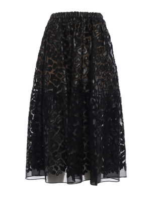 Stella Mccartney: Knee length skirts & Midi - Animalier Leopard midi skirt