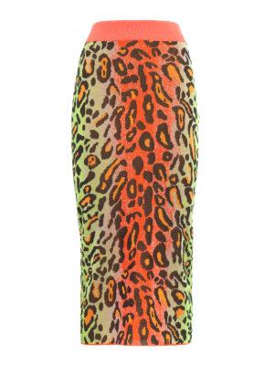 STELLA McCARTNEY: gonne al ginocchio  e longuette - Gonna a matita con stampa leopardo fluo