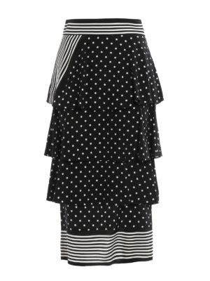 Stella Mccartney: Knee length skirts & Midi - Polka dot and striped silk skirt