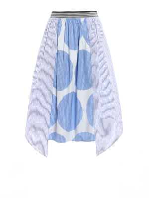 Stella Mccartney: Knee length skirts & Midi - Striped poplin cotton skirt