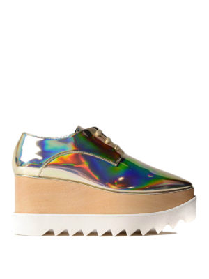 Stella Mccartney: lace-ups shoes - Elyse platform metallic lace-ups