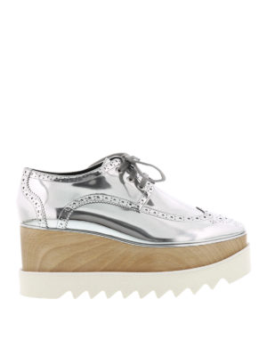 Stella Mccartney: lace-ups shoes - Elyse wood wedge Derby brogues