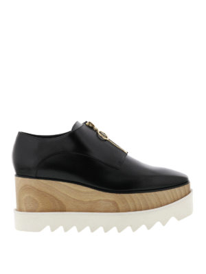 Stella Mccartney: lace-ups shoes - Elyse wood wedge zipped shoes