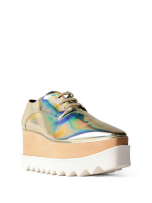 Stella Mccartney: lace-ups shoes online - Elyse platform metallic lace-ups