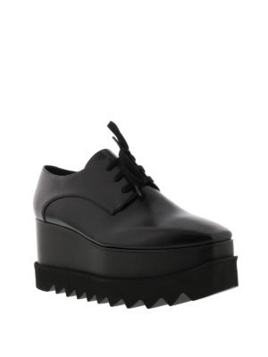 Stella Mccartney: lace-ups shoes online - Elyse wood wedge black lace-ups