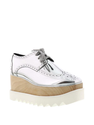 Stella Mccartney: lace-ups shoes online - Elyse wood wedge Derby brogues