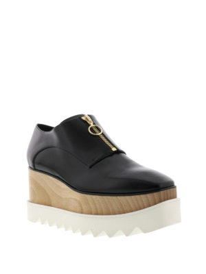 Stella Mccartney: lace-ups shoes online - Elyse wood wedge zipped shoes
