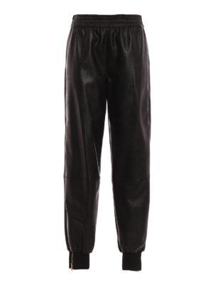 STELLA McCARTNEY: pantaloni in pelle - Pantaloni in finta pelle con zip laterali