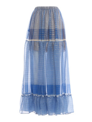 Stella Mccartney: Long skirts - Silk printed long skirt