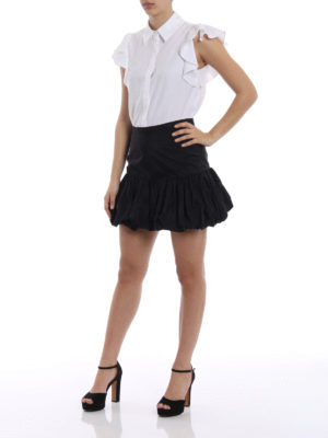 Stella Mccartney: mini skirts online - Silk blend taffeta short skirt