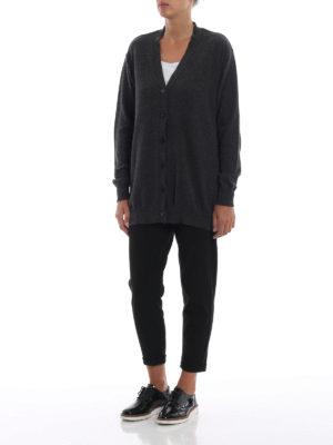 STELLA McCARTNEY: cardigan online - Cardigan lungo antracite in lana e alpaca